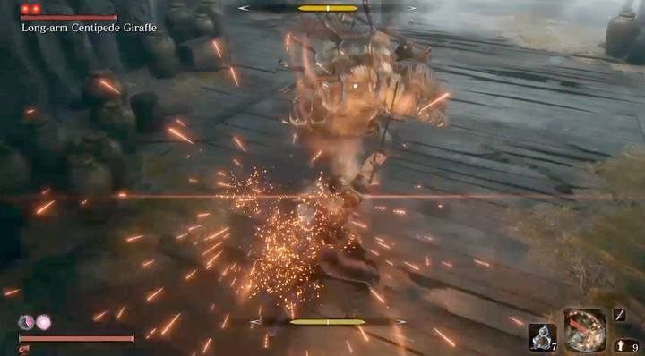 Sparks show that you have paired in good time; the bar of your posture is filled, but decreases faster than the boss. - Long-arm Centipede Giraffe   Sekiro Shadows Die Twice Boss Fight - Bosses - Sekiro Guide and Walkthrough