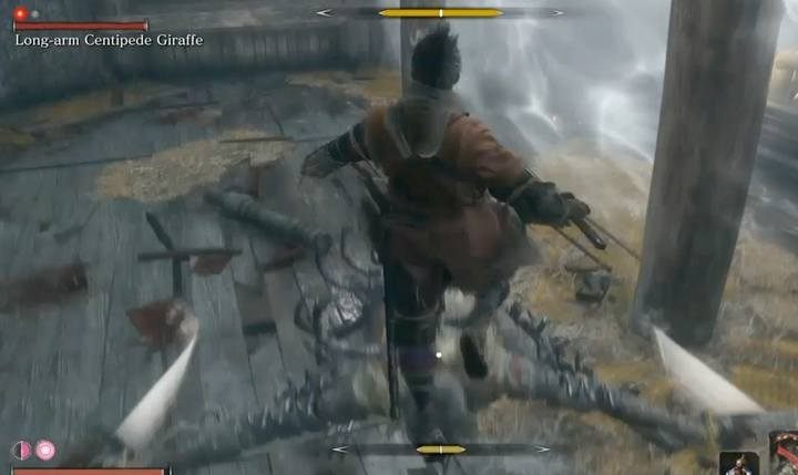 When the enemy is preparing for a special attack, instead of leaping back - jump. - Long-arm Centipede Giraffe   Sekiro Shadows Die Twice Boss Fight - Bosses - Sekiro Guide and Walkthrough