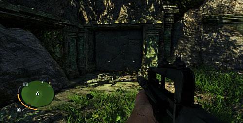 Следуйте по ущелью, перепрыгивайте через скалы, за которыми есть стена, которую нужно разбить (скриншот) - Северный остров - Юго-восточная часть - Объекты культа - Far Cry 3 - Руководство по игре и прохождение игры
