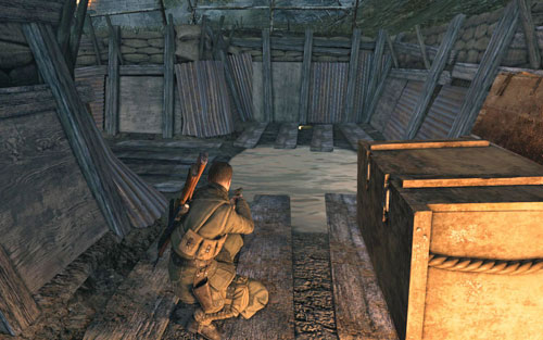In the trenches, in one of the dead ends [#7] - Mission 9   Wine Bottles and Gold Bars - Wine Bottles and Gold Bars - Sniper Elite V2 Game Guide & Walkthrough