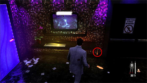 SECRET 7 [Clue 4/6 - Torn Dress Piece]: In the toilet, on the right from the mirror - Clues and Golden Guns - Chapter II - Collectibles - Max Payne 3 - Game Guide and Walkthrough