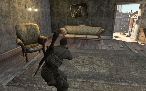 The gold is on a chair in the room on the left, at the very top of the building [#9] which you will enter after planting the charges - Mission 1   Wine Bottles and Gold Bars - Wine Bottles and Gold Bars - Sniper Elite V2 Game Guide & Walkthrough
