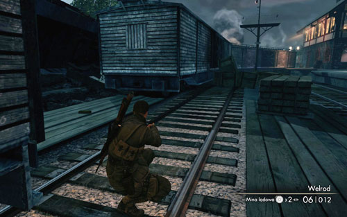 After reaching the rocket launch site, follow the railtracks and you will reach a gap between the train cars [#9], the gold is there - Mission 9   Wine Bottles and Gold Bars - Wine Bottles and Gold Bars - Sniper Elite V2 Game Guide & Walkthrough