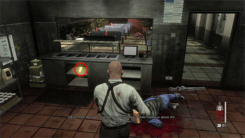 SECRET 8 [Golden Gun - G6 Commando Rifle 2/3]: In the kitchen next to the polices cafeteria - Clues and Golden Guns - Chapter XIII - Collectibles - Max Payne 3 - Game Guide and Walkthrough