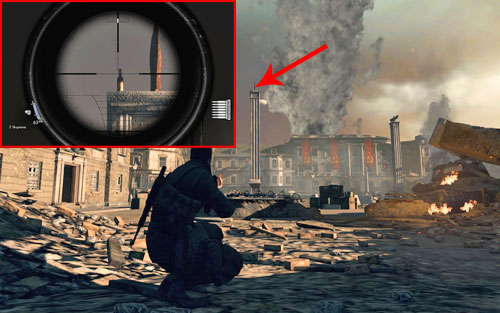 After reaching the square leading to the gate, the bottle can be found at the top of the first pillar [#2] you see - Mission 10   Wine Bottles and Gold Bars - Wine Bottles and Gold Bars - Sniper Elite V2 Game Guide & Walkthrough