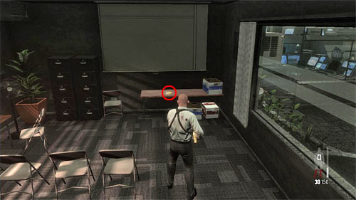 SECRET 11 [Golden Gun - MPK SMG 3/3]: In the conference room in small area with elevators and security room - Clues and Golden Guns - Chapter XIII - Collectibles - Max Payne 3 - Game Guide and Walkthrough