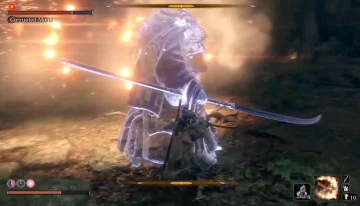 Throw Shinobi Firecracker and then immediately move behind the bosss back - Corrupted Monk   Sekiro Shadows Die Twice Boss Fight - Bosses - Sekiro Guide and Walkthrough