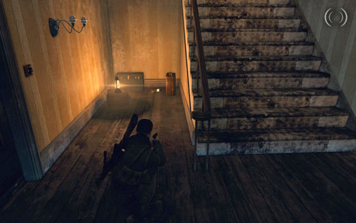 In the same building, on the ground floor right beside the stairs, between suitcases [#3] - Mission 10   Wine Bottles and Gold Bars - Wine Bottles and Gold Bars - Sniper Elite V2 Game Guide & Walkthrough