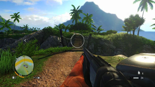 Make your way to the peninsula over the wooden bridge, that you can find in the area marked in the screenshot with the red circle - The Northern Island - North-eastern part - Letters of the Lost - Far Cry 3 - Game Guide and Walkthrough