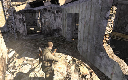 After getting rid of Kreidl and destroying the tank (overall, after clearing the area), as you go down to search the body, turn around on one of the floors - you should see a door - Mission 1   Wine Bottles and Gold Bars - Wine Bottles and Gold Bars - Sniper Elite V2 Game Guide & Walkthrough