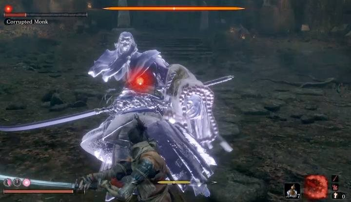 When the boss loses about half of her health, her posture regeneration will slow down significantly. - Corrupted Monk   Sekiro Shadows Die Twice Boss Fight - Bosses - Sekiro Guide and Walkthrough
