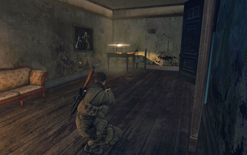 On the table in the first room after entering the building [#4] from the street side - Mission 10   Wine Bottles and Gold Bars - Wine Bottles and Gold Bars - Sniper Elite V2 Game Guide & Walkthrough