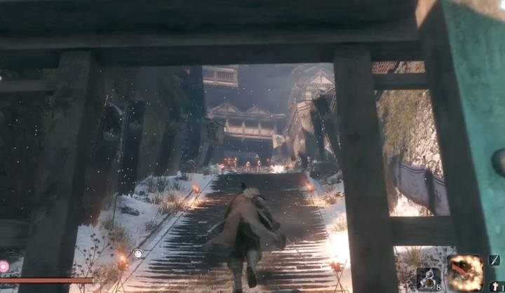 General Kuranosuke Matsumoto stays in front of the main entrance to Ashina Castle - at the top of the stairs, surrounded by soldiers with rifles - General Kuranosuke Matsumoto   Sekiro Shadows Die Twice Boss Fight - Bosses - Sekiro Guide and Walkthrough