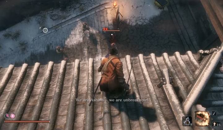 You can perform the first Deathblow by jumping down on the general from the rooftop of the building on the left - General Kuranosuke Matsumoto   Sekiro Shadows Die Twice Boss Fight - Bosses - Sekiro Guide and Walkthrough