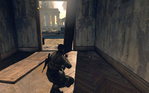Inside the first building to the left of the square entrance [#7] - Mission 10   Wine Bottles and Gold Bars - Wine Bottles and Gold Bars - Sniper Elite V2 Game Guide & Walkthrough