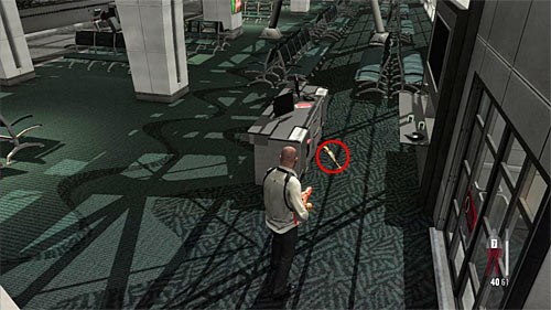 SECRET 6 [Golden Gun - RPD 2/3]: Nearby the desk on ground floor in the second part of main terminal - Clues and Golden Guns - Chapter XIV - Collectibles - Max Payne 3 - Game Guide and Walkthrough