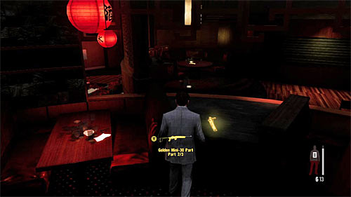 SECRET 9 [Golden Gun - Mini-30 Rifle 2/3]: In the round bar with the red lantern - Clues and Golden Guns - Chapter II - Collectibles - Max Payne 3 - Game Guide and Walkthrough
