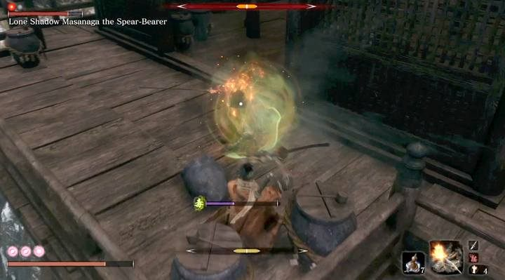 In this case, the attack the boss is green when it carries the risk of poisoning - Lone Shadow Masanaga   Sekiro Shadows Die Twice Boss Fight - Bosses - Sekiro Guide and Walkthrough
