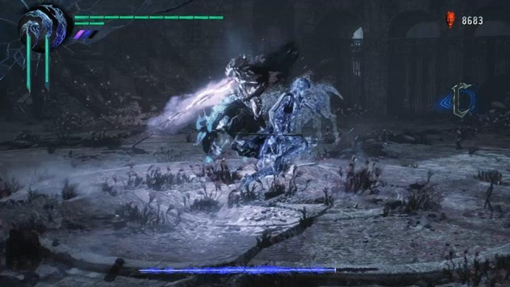 After some time, the boss will begin charging up, and the world will start to resemble a spiritual dimension - Elder Geryon Knight Boss Fight Guide for DMC5 - Bosses - Devil May Cry 5 Guide