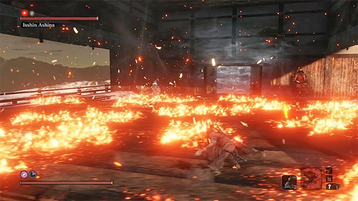 After advancing to the second stage of the battle, Isshin will receive new skills, namely fire attacks - Isshin Ashina   Sekiro Shadows Die Twice Boss Fight - Bosses - Sekiro Guide and Walkthrough