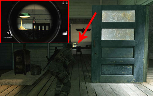 The bottle is standing on a desk inside the second building [#2] - the one which is higher on the map - Mission 2   Wine Bottles and Gold Bars - Wine Bottles and Gold Bars - Sniper Elite V2 Game Guide & Walkthrough