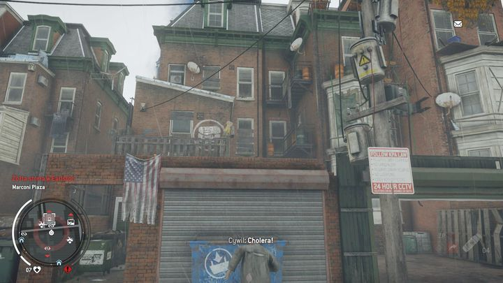 The entrance to the warehouse lies to the right side of the building marked with a white crate - Earlstone - Yellow zone | Journals and jobs - Journals and jobs - Homefront: The Revolution Game Guide & Walkthrough