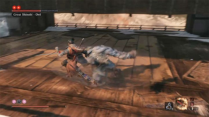 Great Shinobi - Owl has two red dots above its name, that is, it is necessary to perform two fatal blows - Great Shinobi Owl   Sekiro Shadows Die Twice Boss Fight - Bosses - Sekiro Guide and Walkthrough