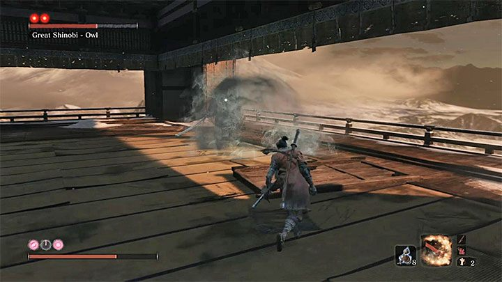 An unusual attack of the boss is hurling a container with poison at you - Great Shinobi Owl   Sekiro Shadows Die Twice Boss Fight - Bosses - Sekiro Guide and Walkthrough
