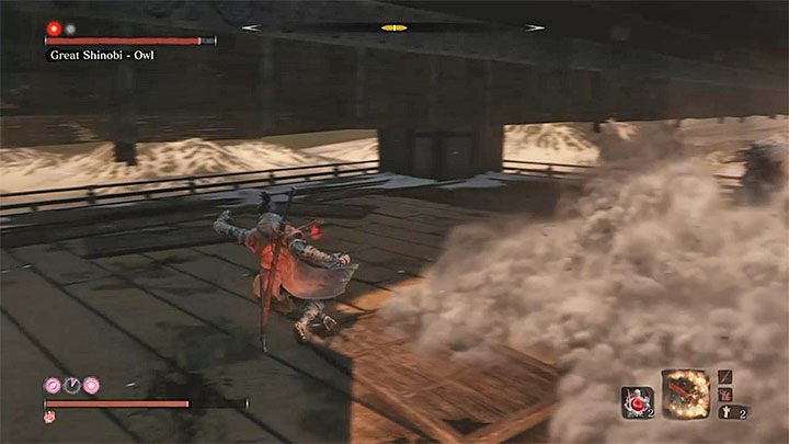 The only new move after advancing to the second stage of the duel is the spraying of dust by the boss - Great Shinobi Owl   Sekiro Shadows Die Twice Boss Fight - Bosses - Sekiro Guide and Walkthrough