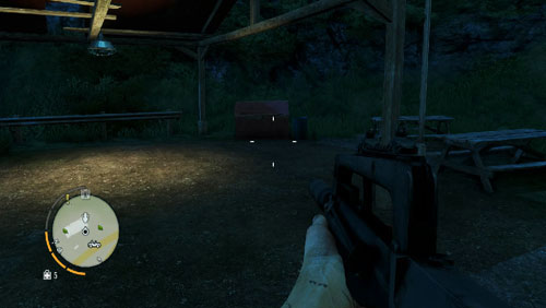 In the area marked with the number, you will find the statuette behind the red container shown in the screenshot - The Southern Island - North-eastern part - Cult Objects - Far Cry 3 - Game Guide and Walkthrough