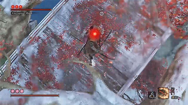 Turn around to face the boss - she is standing below you - True Corrupted Monk   Sekiro Shadows Die Twice Boss Fight - Bosses - Sekiro Guide and Walkthrough