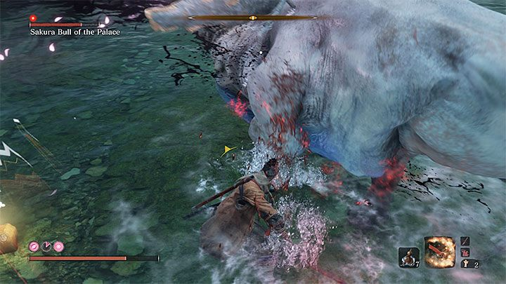 The strategy is the same - you can run around the mini-boss or block its charges with your katana - Sakura Bull of the Palace   Sekiro Shadows Die Twice Boss Fight - Bosses - Sekiro Guide and Walkthrough
