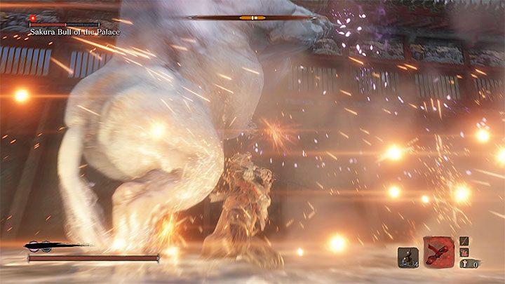 Shinobi Firecracker is useful in this fight - Sakura Bull of the Palace   Sekiro Shadows Die Twice Boss Fight - Bosses - Sekiro Guide and Walkthrough