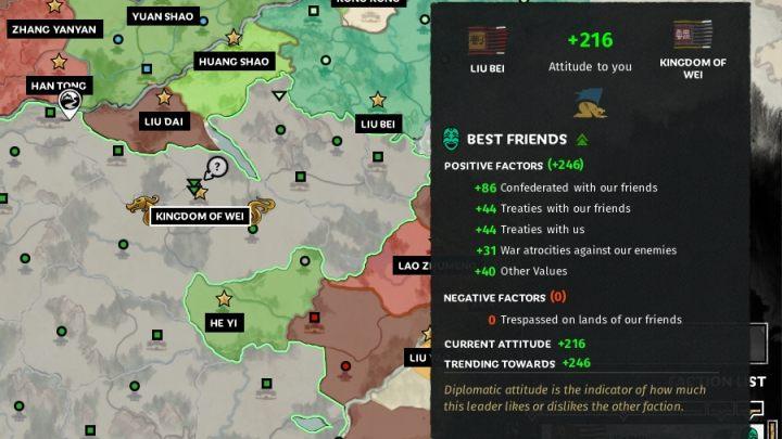 Najechanie na ikonkę przy nazwie frakcji pozwoli sprawdzić szczegółowe informacje odnośnie relacji. - Dyplomacja i handel w Total War Three Kingdoms - Total War Three Kingdoms - poradnik do gry