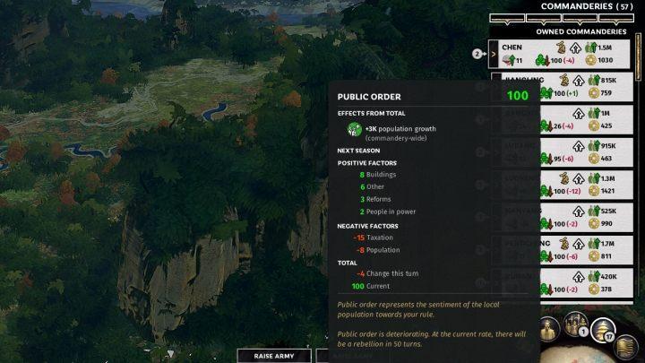Warto ciągle monitorować poziom porządku publicznego i korupcji w komanderii. - Rozwój komanderii (dzielnic) w Total War Three Kingdoms - Total War Three Kingdoms - poradnik do gry