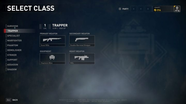 The Trapper class selection screen. - Player vs Player World War Z - character classes - Player vs Player mode - World War Z Guide