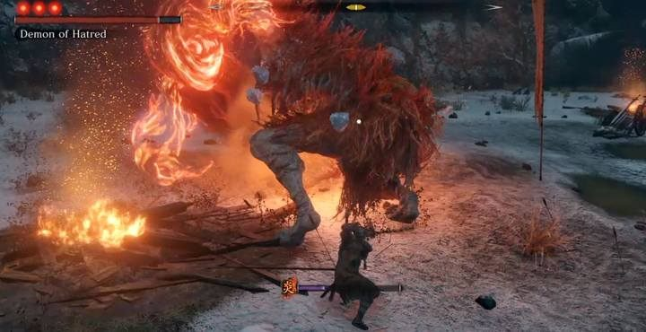 The key to winning this fight is to keep reacting in the same way to the bosss moves and stay calm - Demon of Hatred   Sekiro Shadows Die Twice Boss Fight - Bosses - Sekiro Guide and Walkthrough