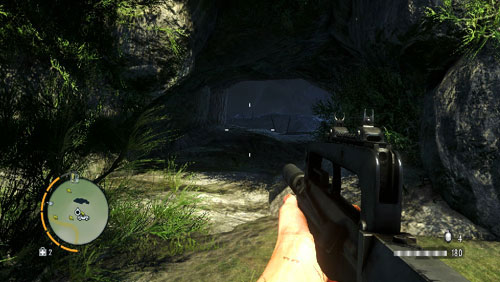 Reach the area marked with the red circle, to face a cave entrance - The Southern Island - South-western part - Cult Objects - Far Cry 3 - Game Guide and Walkthrough