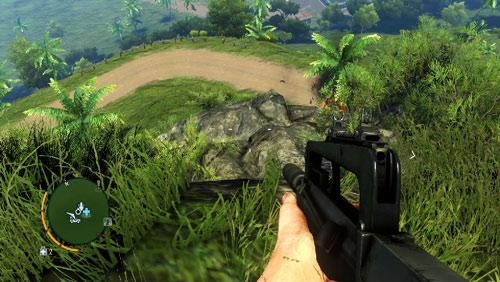 Доберитесь до области, отмеченной красным кружком, и спрыгните на выступ, показанный на втором скриншоте - Южный остров - Юго-западная часть - Культовые объекты - Far Cry 3 - Руководство по игре и прохождение игры