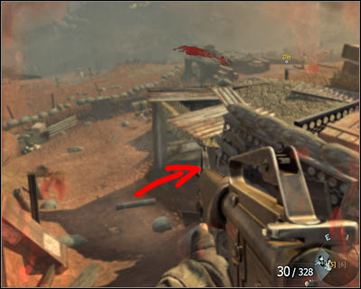 After finishing the fights on the hill where you pushed the barrels to put trenches on fire, go to the machine gun position on the left - S.O.G. | Intel - Intel location - Call of Duty: Black Ops Game Guide & Walkthrough