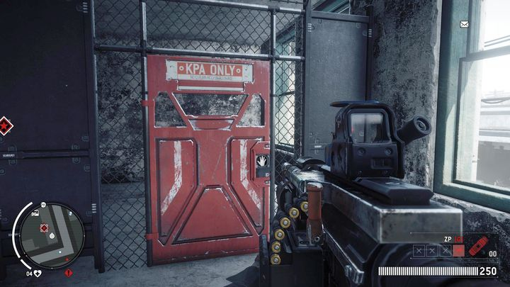 On the floor of the hotel you will find a blocked door and a transmitter hanging on the wall behind it - Elmtree - Red zone | Key Points - Key Points - Homefront: The Revolution Game Guide & Walkthrough