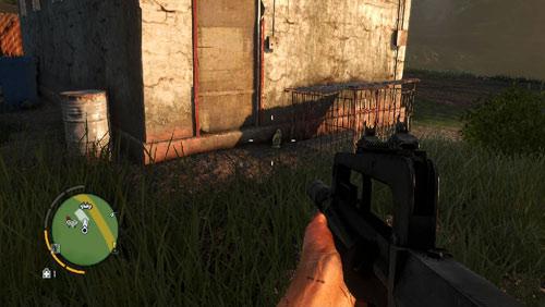 Статуэтка находится на левой стороне здания, рядом с клеткой, показанной на скриншоте - Южный остров - Юго-западная часть - Объекты культа - Far Cry 3 - Руководство по игре и прохождение игры