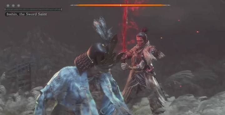 When the defeated boss gets on his knees, do not forget to strike him with a special blow. - Genichiro & Isshin, the Sword Saint   Sekiro Shadows Die Twice Boss Fight - Bosses - Sekiro Guide and Walkthrough