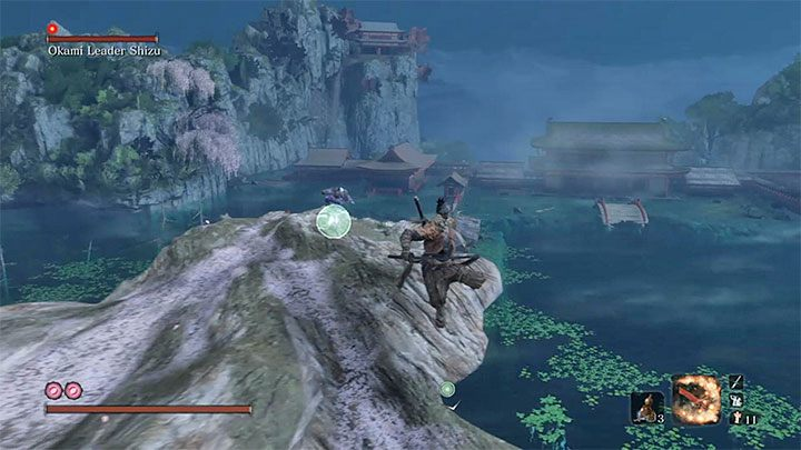 Move from one hook point to another - Okami Leader Shizu   Sekiro Shadows Die Twice Boss Fight - Bosses - Sekiro Guide and Walkthrough