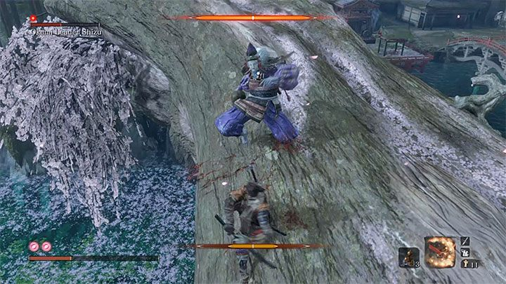 You should land near the boss - Okami Leader Shizu   Sekiro Shadows Die Twice Boss Fight - Bosses - Sekiro Guide and Walkthrough