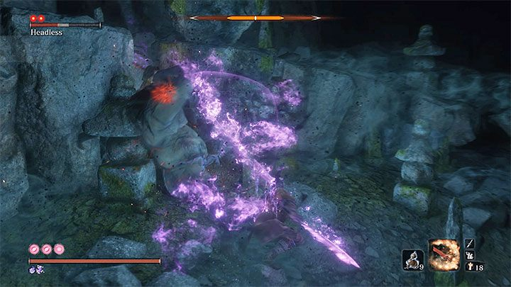 Use Pacifying Agent or Mottled Purple Gourd and apply Divine Confetti before you enter the cave - Headless #2   Sekiro Shadows Die Twice Boss Fight - Bosses - Sekiro Guide and Walkthrough
