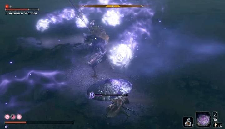 During combat, try to defeat the enemy as soon as possible; the longer you fight him, the more Terror you may get - the pacifying agents will eventually run out - Shichimen Warrior #1   Sekiro Shadows Die Twice Boss Fight - Bosses - Sekiro Guide and Walkthrough