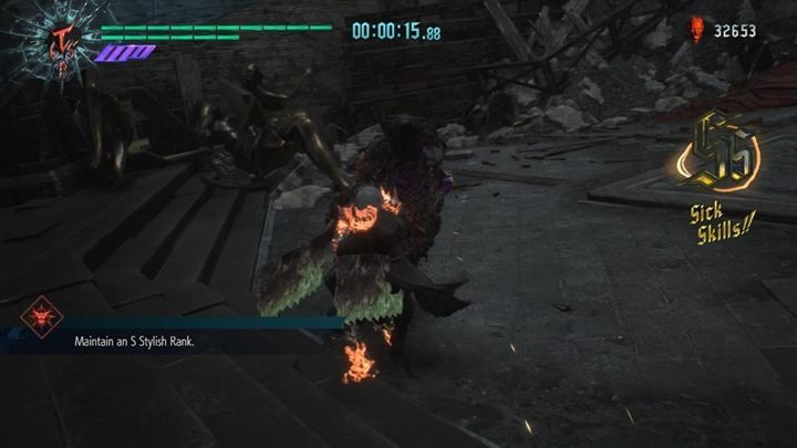 This time, you have 50 seconds to get a score of style S - Secret Mission 08 walkthrough for Devil May Cry 5 - Secret missions - Devil May Cry 5 Guide