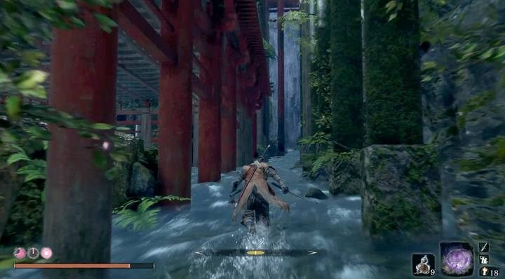 Now go back and turn right behind the rock, going up the stream; go to the rocks on the right and climb up - there you will find another creature - Shichimen Warrior #2   Sekiro Shadows Die Twice Boss Fight - Bosses - Sekiro Guide and Walkthrough