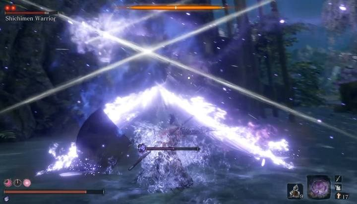 Projected Force method allows you to perform an instant counterattack that does a lot of damage to the boss and destroys nearby ghosts. - Shichimen Warrior #2   Sekiro Shadows Die Twice Boss Fight - Bosses - Sekiro Guide and Walkthrough